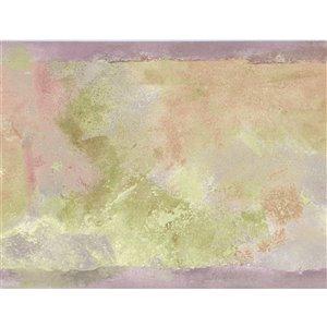 Bordure de papier peint de 6,89 po préencollée par Dundee Deco, rose, violet, beige, vert