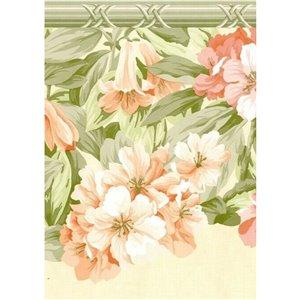 Bordure de papier peint de 10,1 po préencollée par Dundee Deco, beige, rose, vert