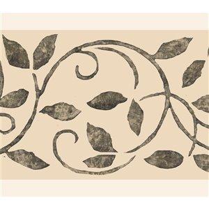 Bordure de papier peint de 7 po auto-adhésive par Dundee Deco, gris foncé, beige