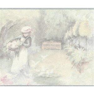 Bordure de papier peint de 7 po préencollée par Dundee Deco, beige, rose, vert