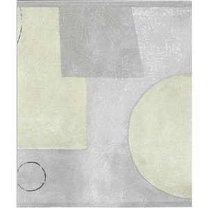 Bordure de papier peint de 7 po préencollée par Dundee Deco, gris et beige