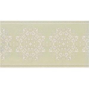 Bordure de papier peint de 7 po préencollée par Dundee Deco, vert olive, beige