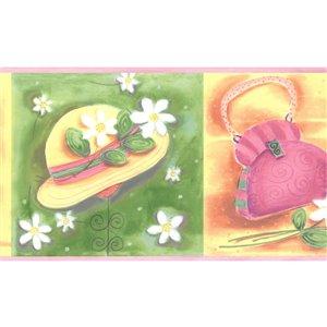 Bordure de papier peint de 7 po préencollée par Dundee Deco, vert, rose, jaune