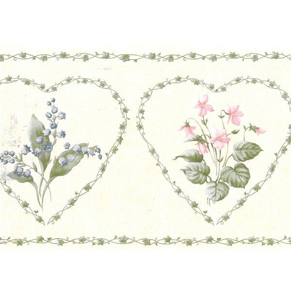 Bordure de papier peint de 7 po préencollée par Dundee Deco, vert, rose, gris