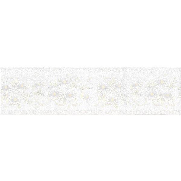 Bordure de papier peint de 5,25 po préencollée par Dundee Deco, perle, blanc cassé, vert