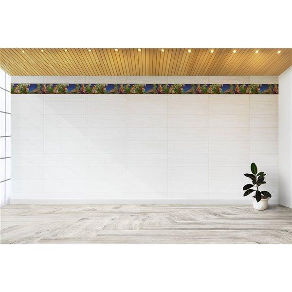 Bordure de papier peint de 7 po auto-adhésive par Dundee Deco, blanc, vert, violet