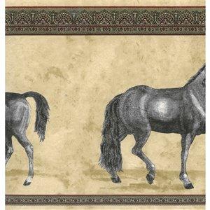 Bordure de papier peint de 10,24 po préencollée par Dundee Deco, beige, vert, bordeaux