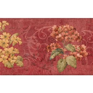 Dundee Deco 7-in Scarlet Red/Yellow/Green Prepasted Wallpaper Border