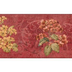 Bordure de papier peint de 7 po préencollée par Dundee Deco, rouge écarlate, jaune, vert