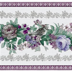 Dundee Deco 7-in Purple/Blue/Green Self-Adhesive Wallpaper Border