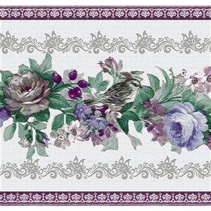 Bordure de papier peint de 7 po auto-adhésive par Dundee Deco, violet, bleu, vert