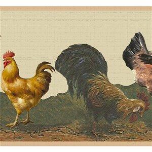 Bordure de papier peint de 7 po auto-adhésive par Dundee Deco, marron, jaune, beige