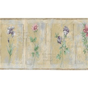 Bordure de papier peint de 3,5 po préencollée par Dundee Deco, mauve, rose