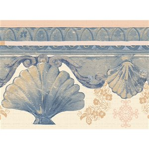 Dundee Deco 7-in Blue/Ivory White Self-Adhesive Wallpaper Border