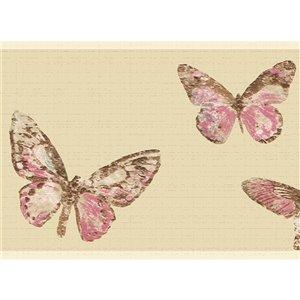 Dundee Deco 7-in Pink/Brown/Beige Self-Adhesive Wallpaper Border