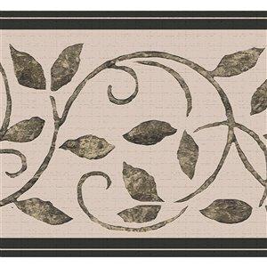 Bordure de papier peint de 7 po auto-adhésive par Dundee Deco, gris, marron, sépia