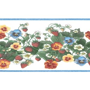 Dundee Deco 6.25-in Blue/Red/Yellow/Orange Prepasted Wallpaper Border