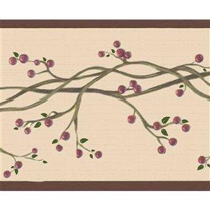 Bordure de papier peint de 7 po auto-adhésive par Dundee Deco, rouge, sépia