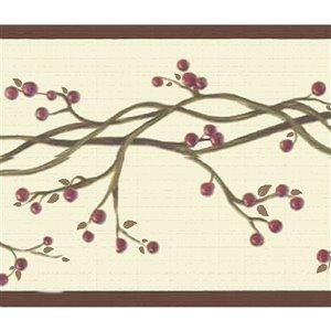 Bordure de papier peint de 7 po auto-adhésive par Dundee Deco, rouge et beige