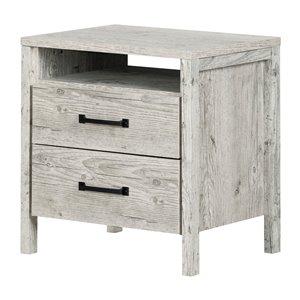Table de chevet à 2 tiroirs Gravity de South Shore Furniture, pin bord de mer