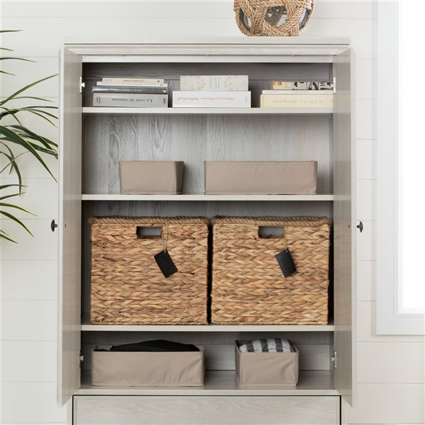 Armoire à 2 portes avec tiroirs Versa South Shore Furniture, chêne hivernal