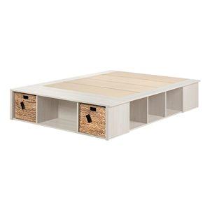 Lit plateforme à deux places Avilla de South Shore Furniture, chêne hivernal et osier