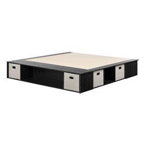 Très grand lit plateforme Flexible de South Shore Furniture, chêne noir et taupe