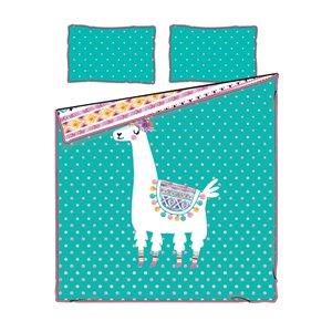 Douillette et taie d'oreiller pour lit à deux places DreamIt de South Shore Furniture, turquoise et rose, 2 pièces