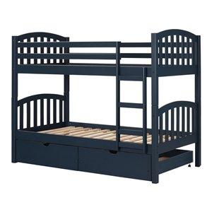 Lit superposé simple/simple Ulysses de South Shore Furniture, bleu marin
