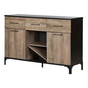 Crédence/vinothèque en composite Valet de South Shore Furniture, chêne vieilli et ébène
