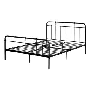 Grand lit à panneaux Plenny de South Shore Furniture, noir