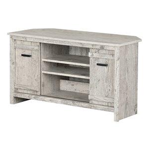 Meuble en coin pour téléviseur Exhibit de South Shore Furniture, blanc