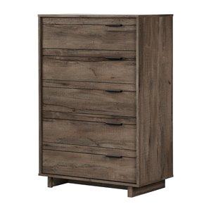 Commode standard à 5 tiroirs Fynn de South Shore Furniture, chêne automnal