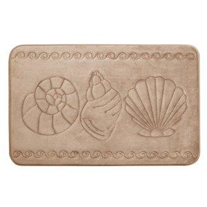 Tapis de bain beige en polyester et mousse mémoire Swift Home, motif de coquillage, 20 po x 32 po