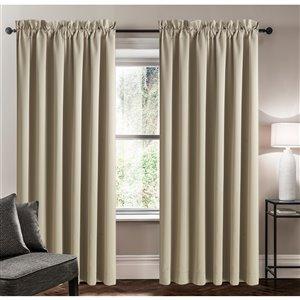 Panneau de rideau simple assombrissant beige en polyester avec doublure entrelacée par Swift Home de 63 po