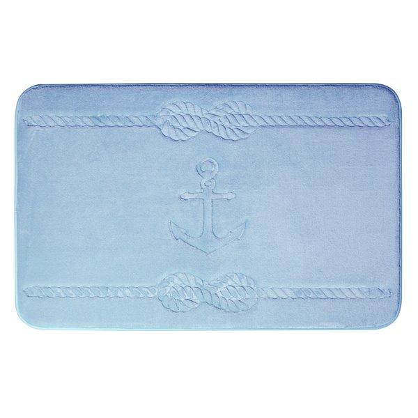 Tapis de bain bleu en polyester et mousse mémoire Swift Home, motif d'ancre, motif d'ancre, 17 po x 24 po
