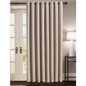 Panneau de rideau simple occultant beige en polyester avec doublure entrelacée par Swift Home de 100 po