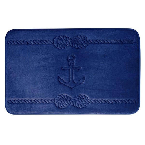 Tapis de bain bleu marine en polyester et mousse mémoire Swift Home, motif d'ancre, motif d'ancre, 20 po x 32 po