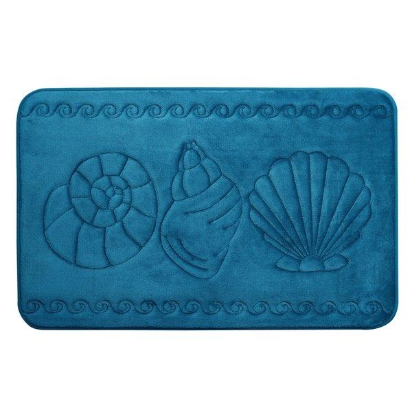 Tapis de bain sarcelle en polyester et mousse mémoire Swift Home, motif de coquillage, 17 po x 24 po