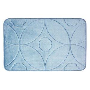 Tapis de bain bleu en polyester et mousse mémoire Swift Home, motif d'accolade, 20 po x 32 po
