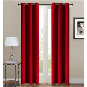 Panneau de rideau simple occultant rouge en polyester avec doublure entrelacée par Swift Home de 63 po