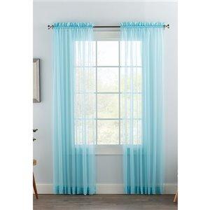 Panneau de voilage double bleu pâle en polyester avec doublure entrelacée par Swift Home de 63 po