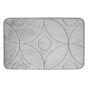 Tapis de bain gris pâle en polyester et mousse mémoire Swift Home, motif d'accolade, 20 po x 32 po