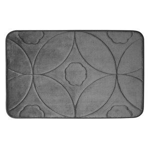 Tapis de bain gris foncé en polyester et mousse mémoire Swift Home, motif d'accolade, 20 po x 32 po