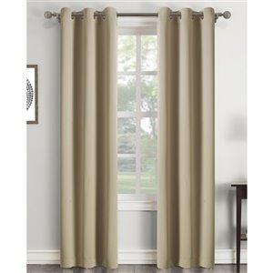 Panneau de rideau à œillets assombrissant beige en polyester avec doublure entrelacée par Swift Home de 63 po