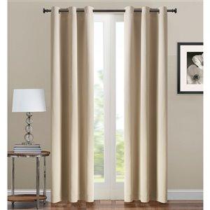 Panneau de rideau simple occultant beige en polyester avec doublure entrelacée par Swift Home de 63 po