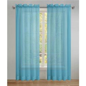 Panneau de voilage double turquoise en polyester avec doublure entrelacée par Swift Home de 95 po