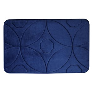 Tapis de bain bleu marine en polyester et mousse mémoire Swift Home, motif d'accolade, 17 po x 24 po