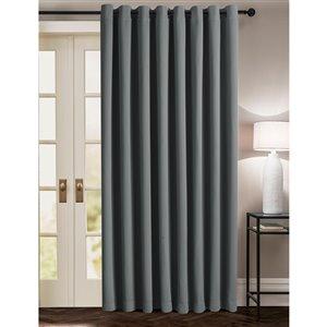 Panneau de rideau simple occultant gris anthracite en polyester avec doublure entrelacée par Swift Home de 100 po