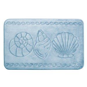 Tapis de bain bleu en polyester et mousse mémoire Swift Home, motif de coquillage, 20 po x 32 po